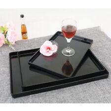 Plastic Plain serving tray, breakfast/ tea snack tray Kitchen Platter Black