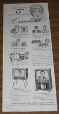 1955 VINTAGE AD~CAPEHEART VENUS & JUPITER MODEL TV~TELEVISION