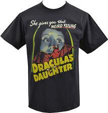 Negro para Hombre Vintage Camiseta Draculas hija B-película de Terror Vampiro Gótico S-5XL