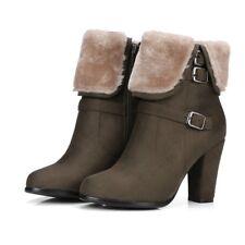 Ladies Retro Winter Warm Short Boots High Heel Round Toe Side Zipper Comfy Shoes