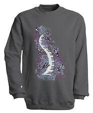 (09018-1 Gris) Sudadera S M L Xl Xxl 3xl 4xl Música Camisetas - Pianos TECLAS
