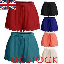 UK Women Elastic Waist Drawstring Lace Hem Beach Shorts Hot Pants Plus Size 6-22