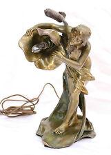 MAGNIFICENT ART NOUVEAU 19C BRONZE LAMP BY LUIS DOMENECH FOUNDRY HALLMARK