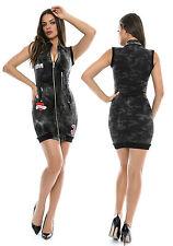 Foggi Damen Jeanskleid Bodycon-Kleid Minikleid Camouflage Stretchkleid XS-M