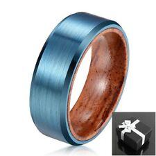 8mm Blue Brushed Tungsten Koa Wood Band Ring Men's Wedding Jewelry