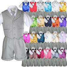 Baby Boy Toddler Formal Vest Shorts Gray 6 Piece Set Suit Bow Tie 23 Color S-4T