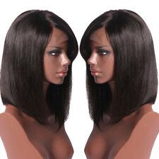 130% Density Straight Bob Full Lace Human Hair Wigs With Bangs Natural Color