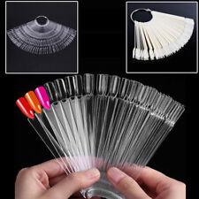 50Pcs False Nail Tips Polish Palette Nail Art Practice Fan Color Sticker Display