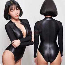 LEOHEX Fashion Women's One Piece Front Zipper Wetlook Shiny Bodysuit Swimwear