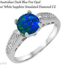 Australiano Azul Oscuro Ópalo de Fuego Compromiso Boda Original Anillo Plata Ley