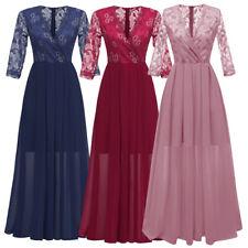 Sexy Women Lady Lace Evening Party Dress V-Neck Chiffon Bridesmaid Prom Dresses