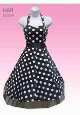 H&R London Black Satin Big White Dot Cocktail Halter 50S Punk Vintage Prom Dress