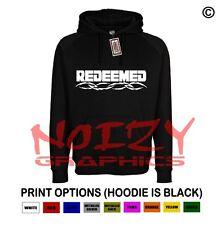 Redeemed Cross Christian Hoodie Black Sweatshirt Jesus Religious Rock Worship