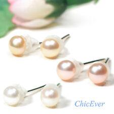 Mini-Perlenohrstecker, Süßwasser Perlen Ohrringe, Schmuckbeutel GRATIS!! weiß