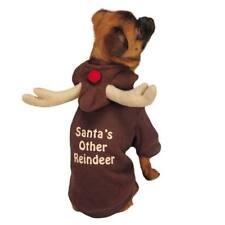 Santa's Other Reindeer Holiday Dog Sweater Warm Brown Antler Hoodie Choose Size