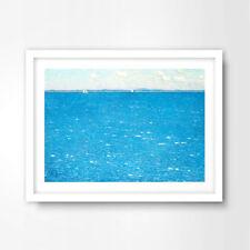 BRIGHT BLUE OCEAN HORIZON SEASIDE NAUTICAL ART PRINT Home Decor Wall Picture