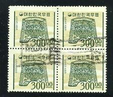 Korea SC#374 Blk of 4, Used 300w sl. green & buff/
