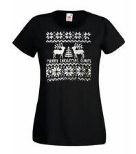 Ladies Funny Merry Christmas Reindeer C*nt Xmas Gift T-Shirt