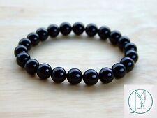 Black Tourmaline Natural Gemstone Bracelet 6-9'' Elasticated Healing Stone Reiki