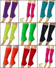 Ladies Leg Warmers Neon Plain Fancy Dress Ladies Girls 80s Disco Womens New