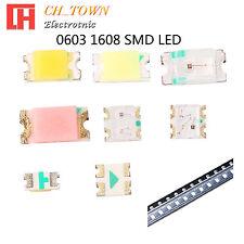 50 100pcs 0603 1608 SMT SMD LED Emitting Diodes White Blue RGB Light Lamp Bulb