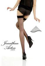 3 pairs Jonathan Aston Contrast Seam & Heel Hold Ups Stockings - Black / Fuchsia