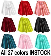 Women Lady Satin Shiny Mini Skirt Pleated Retro High Waist Club S~3XL | 27 Color