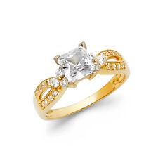 Square Princess Cut Diamond Engagement Wedding Anniversary Ring 14K Yellow Gold
