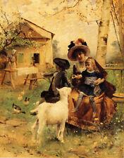 MOTHER DAUGHTER FARM SCENE GOAT DUCK A TASTE MORSEL BY EMILE PINCHARD REPRO