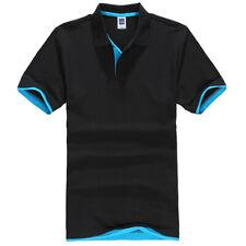 Mens Short Sleeve Polo Shirt Plain Top Designer Style Fit T-Shirt Black Blue