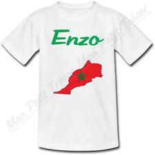 T-shirt Bébé Carte Maroc avec Drapeau avec Prénom Personnalisé