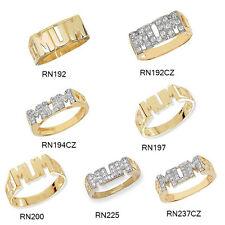 9 carati oro giallo MAMMA cordolo LATI Anello con zirconi e Plain Varie Taglie * NUOVA *