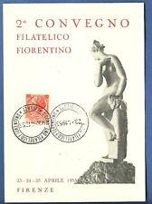 CARTOLINA 2 Convegno FILATELICO FIORENTINO 1955 FIRENZE