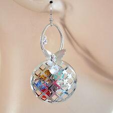 ORECCHINI donna ARGENTO cristalli strass colorati multicolore pendenti hänge H38