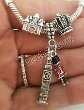 3PC England London Big ben Queen crown Castle Guard Charm F/European Bracelet