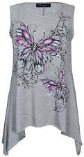 Ladies plus size butterfly print hanky hem sleeveless long womens top size 16-26