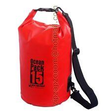 Karana Dry Pack Waterproof Shoulder Rucksack Bag Ocean Duffle Day Sack Red 15L