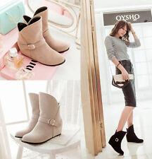 stivali stivaletti invernali comodi scarpe donna simil camoscio tacco 5 cm  8767