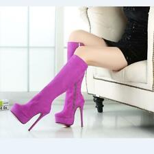 35-47 Women Platform Stilettos Slim Heel Round Toe Mid Calf Evening Party Boots
