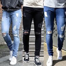 Mode Hommes Skinny jean coupe slim déchiré délavé effilochée MOTARD Jeans