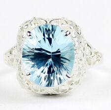 • SR009, 6 carat Swiss Blue Topaz Quantum, Sterling Silver Ladies Ring -Handmade