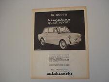 advertising Pubblicità 1962 BIANCHINA QUATTROPOSTI