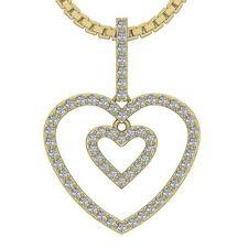 Heart Pendant Necklace Natural Diamond VS1 E 0.55 Carat 14K Yellow Rose Gold
