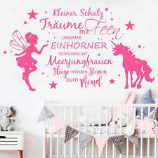 Wandtattoo Elfe mit Einhorn und Spruch 12357 Sterne Kinderzimmer Baby Mädchen
