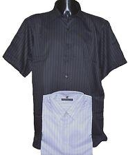 **NEW** Mens Big Size Brooklyn Stripe Shirt - 2XL 3XL 4XL 5XL Black or White