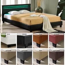 LED de diseño acolchado cama 140 160 180 200 x 200 cm doble matrimonio bastidor de cama de piel pu