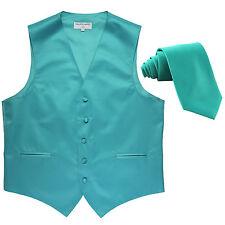 New Men's Formal Tuxedo Vest Waistcoat_Necktie aqua blue wedding party prom