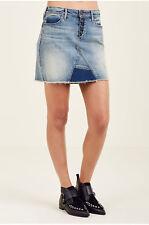 True Religion Women's Mid Rise Cut Off Denim Jean Mini Skirt in Ojai Fields