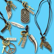 Kette für Männer Herren Lederkette ECHT LEDER Anhänger Halskette Surferkette