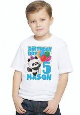 Panda Balloons BOYS GIRLS Personalized Birthday T Shirt TEE Custom NAME AGE D2